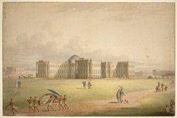 S.E. view of Government House, Calcutta. A European is being carried in a palanquin, while other Europeans, attended by servants, stroll on the grass and exercise their dogs